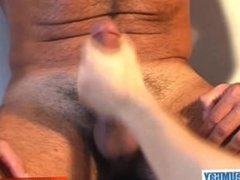 Sport guy serviced: Handsome mature arab guy get wanked his big cock by us