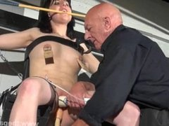 Crossed bondage tit tortures and sexual domination of screaming brunette