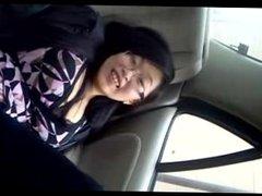 Tickling wife's feet in the car
