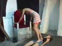 Trample lesbian slave