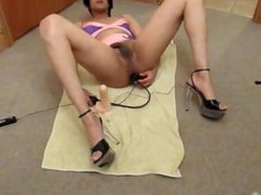 "UK Indian crossdresser anal toy fun wearing pink nightie and 6"" heels"