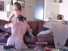 Hot couple rough fuck on couch