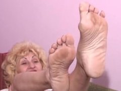 blonde granny wrinkled soles