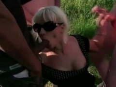 Blonde milf love sucking cocks in the sun blo