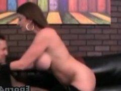 Hot sexy brunette milf sucking black bigcock