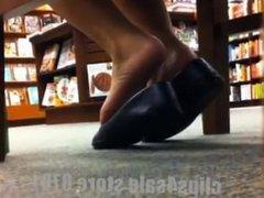 Candid Asian Shoeplay Dangling Feet at Bookstore