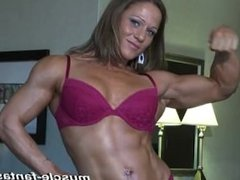 Girl flexing her big muscles