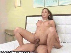 Shemale Bianka Nascimento sucks cock and gets fucked