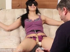 Brunette tied and edged with hitachi to orgasms