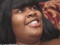 Ebony BBW Fucked And Jizzed On A Threesome
