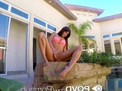 HD POVD - Teen Rahynndee James is being watched while sunbathing