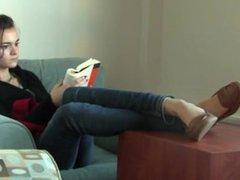 Candid Studying Girl Shoeplay Feet