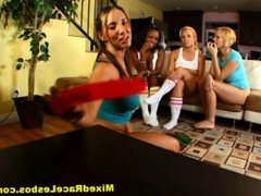 Teen Lesbians Play Spin The Bottle In The Pussy from MixedRaceLesbos