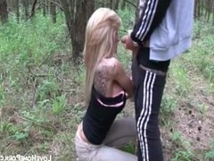 Blonde bitch sucks cock and enjoys awesome anal sex
