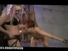 Lesbian BDSM Whipping And Strap On