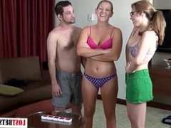 One guy and two pretty girls play a strip word creation game