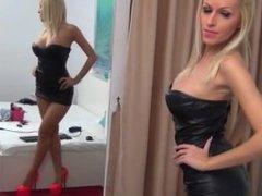 BigTits Blonde Leather Dress Dancing