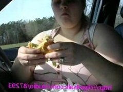 Chubby wife eat huge Hambuger for some dick