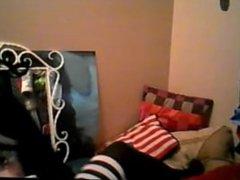 Latina stripping on cam