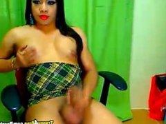 Horny Tranny Strokes her Huge Dick