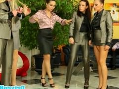 Classy cfnm european ladies fighting for cock