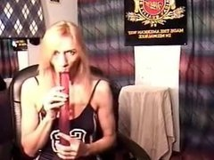 Girl Swallowing a Double Ended Dildo