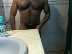 Shower Time For Hairy Muscle Dude