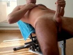 Jerk Off On Weight Bench