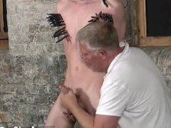 Gay XXX With his sensitive balls tugged and his shaft wanked and sucked,