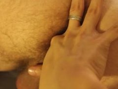 Asian guy is fingering my hole, inspecting my balls and cock from behind