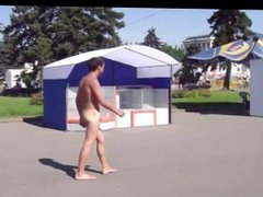 Naked guy in public arrested by the police
