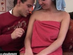 Young Elle gets big tits cummed