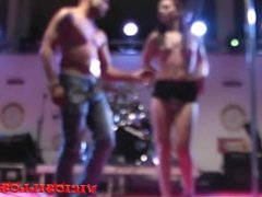 Kiara Rules hot babe pole dance striptease on stage by Viciosillos.com