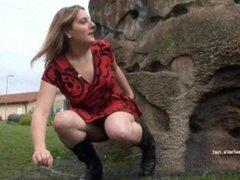 Longhaired redhead Jannas public masturbation and outdoor milf flashing