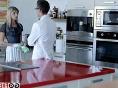 Sexy maid Gina Gerson fucked by her boss for money