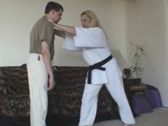 Karate Chick demonstrates ball attacks