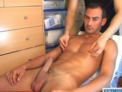 Testing a very handsome sport guy: Nicolas serviced his big cock by us !