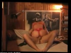 Blindfolded wife fucks on cam