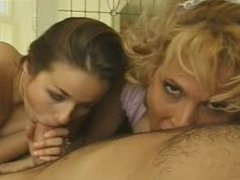Old school blow & footjob threesome