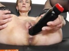 Awesome slim brunette spreads her legs for the masturbation