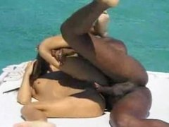 Cute Slender Brunette Teen Fucks Black Dude on a Boat