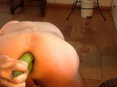 A triple penetration with 3 cucumbers in the Asshole