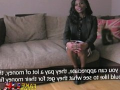 FakeAgentUK Stunning Ebony amateur deep throats big cock to the hilt