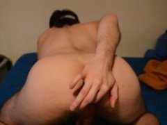 sexy guy with huge cock and balls sticks sausage up his ass and wanks gay