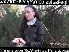 Hot Outdoor Smoking in Leather Coat Sylvia Chrystall HD