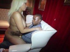 Big Natural Breast black stripper has sex in champagne room