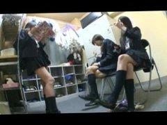 3 schoolgirls vs 1 Schoolgirl foot worship 3/1