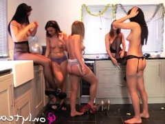 Abigail B, Jayne M, Rachel May, Jo E & Felicity Hill party time tease