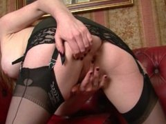 Holly Kiss - Black nylon stocking elegance!