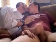 Two Average Guys Kissing and Playing Around With Their Cocks on the Couch